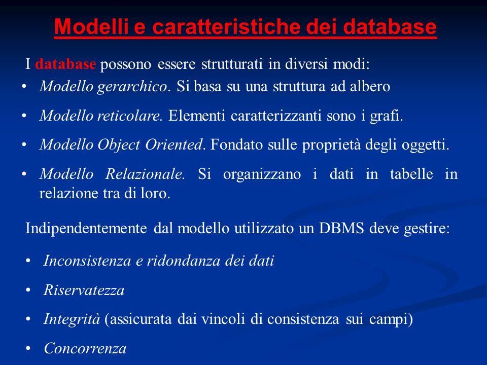 Modelli e caratteristiche dei database I database possono essere strutturati in diversi modi: Modello gerarchico.