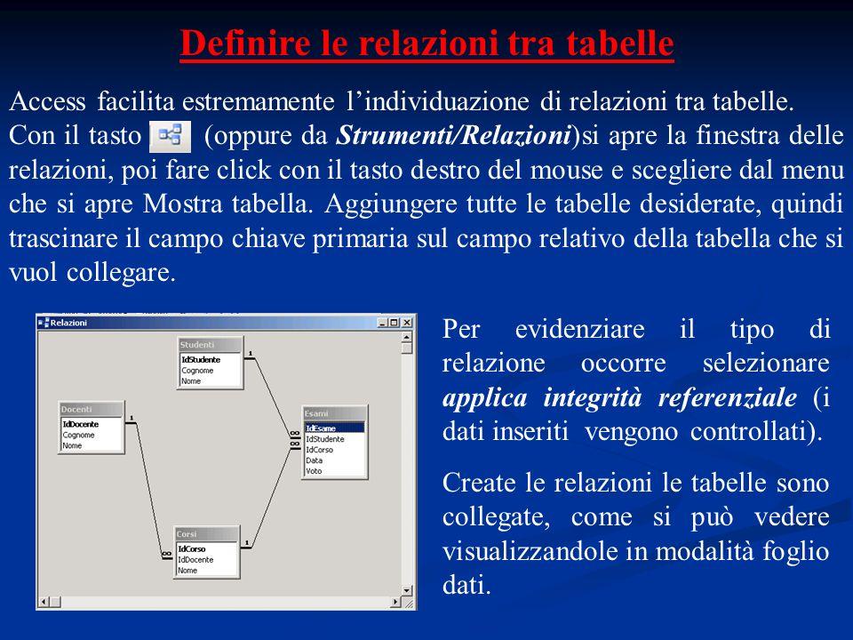 Definire le relazioni tra tabelle Access facilita estremamente lindividuazione di relazioni tra tabelle. Con il tasto (oppure da Strumenti/Relazioni)s