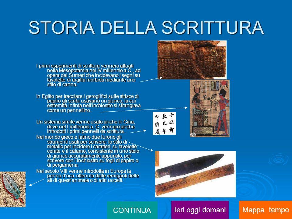 STORIA DELLA SCRITTURA I primi esperimenti di scrittura vennero attuati nella Mesopotamia nel IV millennio a.C., ad opera dei Sumeri che incidevano i segni su tavolette di argilla morbida mediante uno stilo di canna.