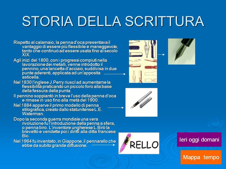 STORIA DELLA SCRITTURA Rispetto al calamaio, la penna doca presentava il vantaggio di essere più flessibile e maneggevole, tanto che continuò ad essere usata fino al secolo XIX.