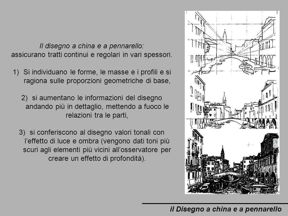 il Disegno a china e a pennarello Il disegno a china e a pennarello: assicurano tratti continui e regolari in vari spessori. 1)Si individuano le forme