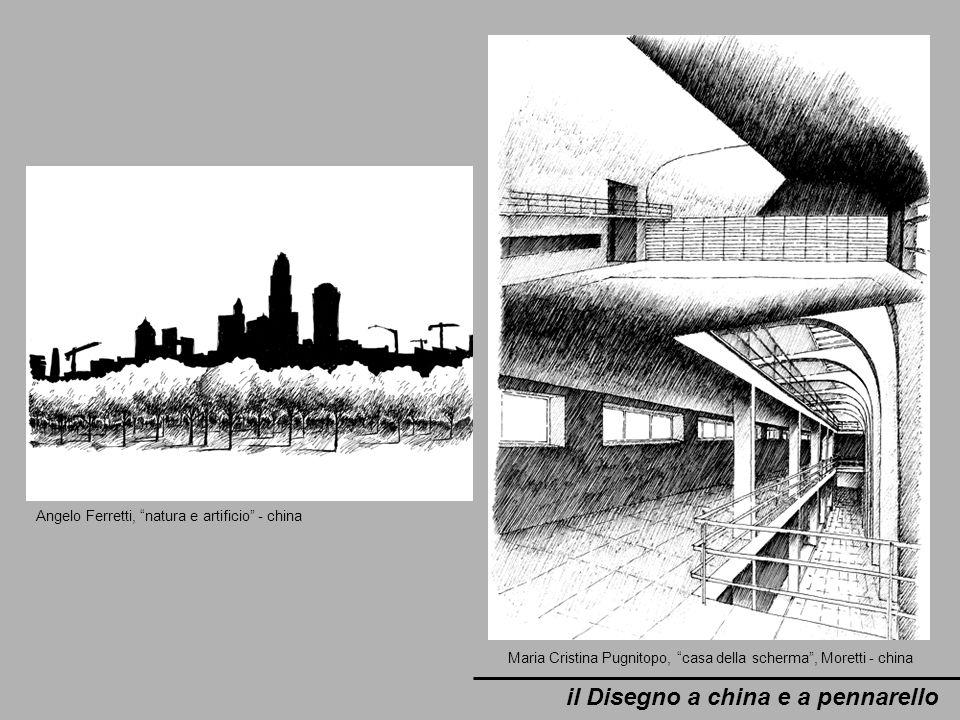 il Disegno a china e a pennarello Angelo Ferretti, natura e artificio - china Maria Cristina Pugnitopo, casa della scherma, Moretti - china