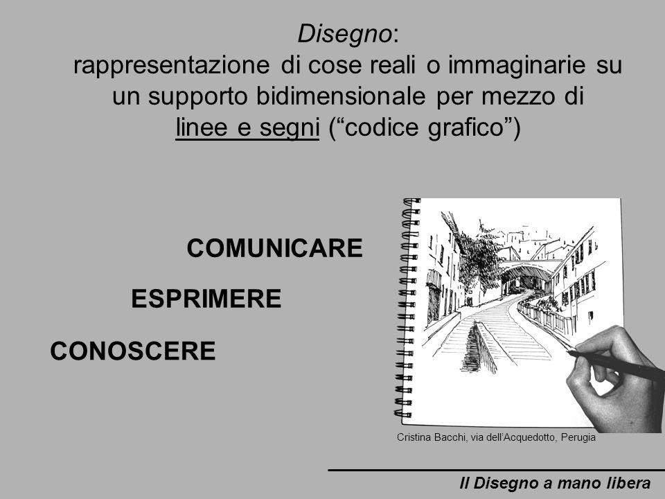Il Disegno a mano libera Cristina Bacchi, via dellAcquedotto, Perugia Disegno: rappresentazione di cose reali o immaginarie su un supporto bidimension