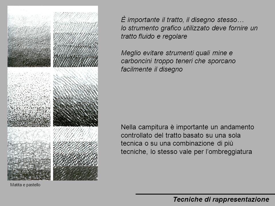È importante il tratto, il disegno stesso… lo strumento grafico utilizzato deve fornire un tratto fluido e regolare Meglio evitare strumenti quali min