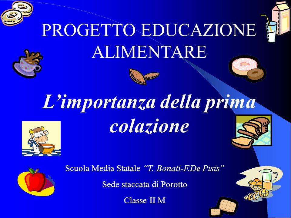 PROGETTO EDUCAZIONE ALIMENTARE Limportanza della prima colazione Scuola Media Statale T.