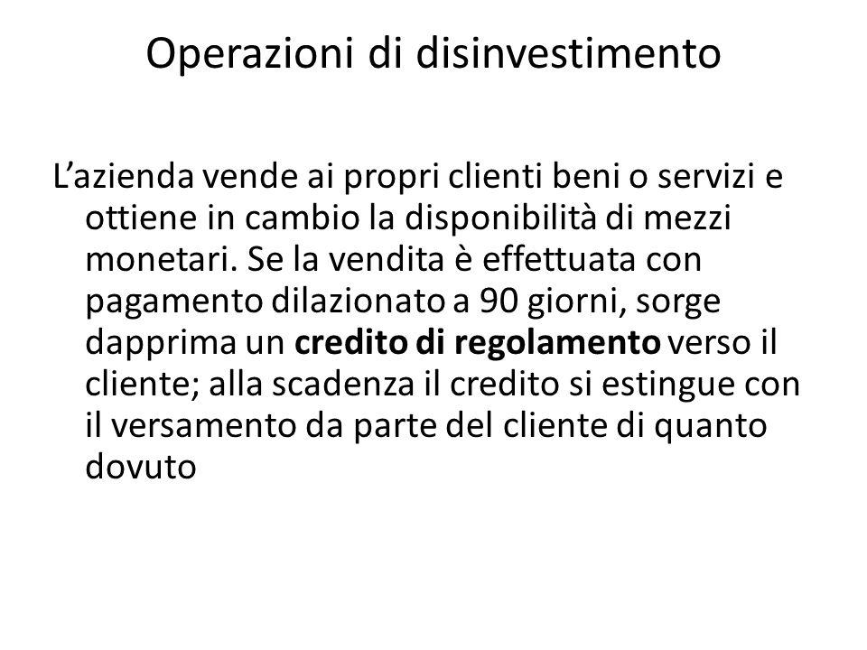 Operazioni di disinvestimento Lazienda vende ai propri clienti beni o servizi e ottiene in cambio la disponibilità di mezzi monetari. Se la vendita è