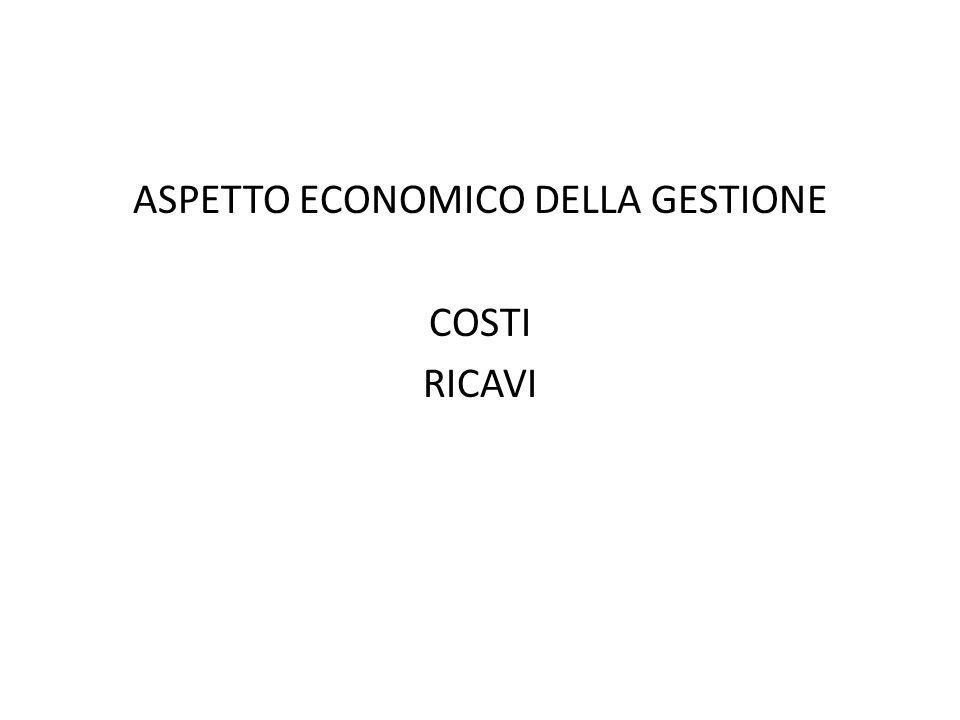 ASPETTO ECONOMICO DELLA GESTIONE COSTI RICAVI