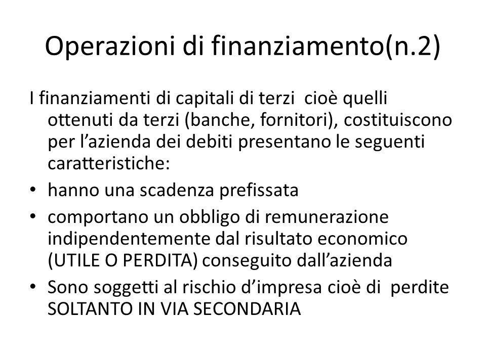 Operazioni di finanziamento(n.2) I finanziamenti di capitali di terzi cioè quelli ottenuti da terzi (banche, fornitori), costituiscono per lazienda de