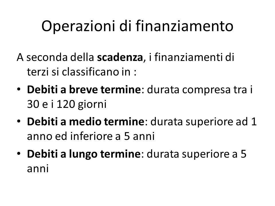Operazioni di finanziamento A seconda della scadenza, i finanziamenti di terzi si classificano in : Debiti a breve termine: durata compresa tra i 30 e