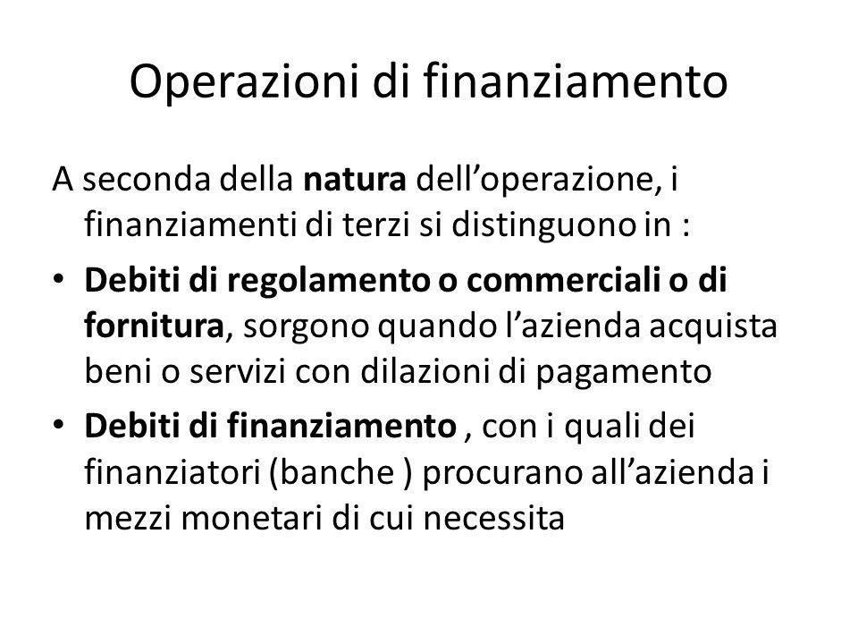 Operazioni di finanziamento A seconda della natura delloperazione, i finanziamenti di terzi si distinguono in : Debiti di regolamento o commerciali o