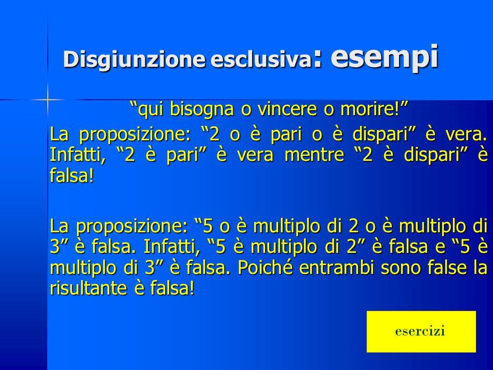Disgiunzione esclusiva Prop. A Prop. B A xor B 000 011 101 1 1 0 La proposizione risultante è vera se e solo se una soltanto delle due proposizioni è