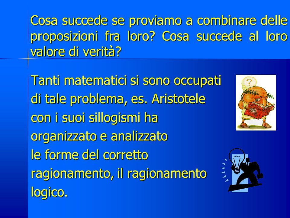 Logica matematica Branca della matematica che si occupa del valore di verità delle proposizioni. Una proposizione è unaffermazione a cui si può attrib