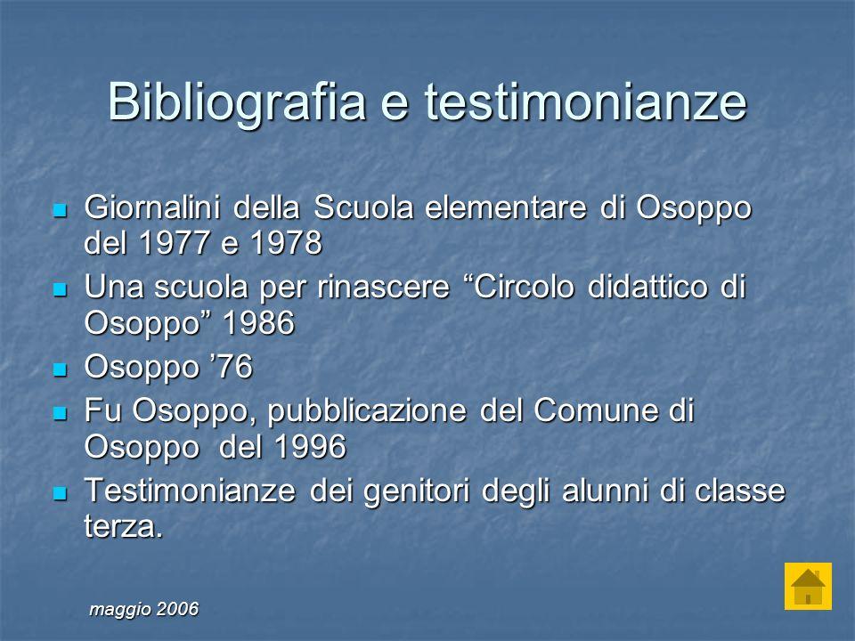 Bibliografia e testimonianze Giornalini della Scuola elementare di Osoppo del 1977 e 1978 Giornalini della Scuola elementare di Osoppo del 1977 e 1978