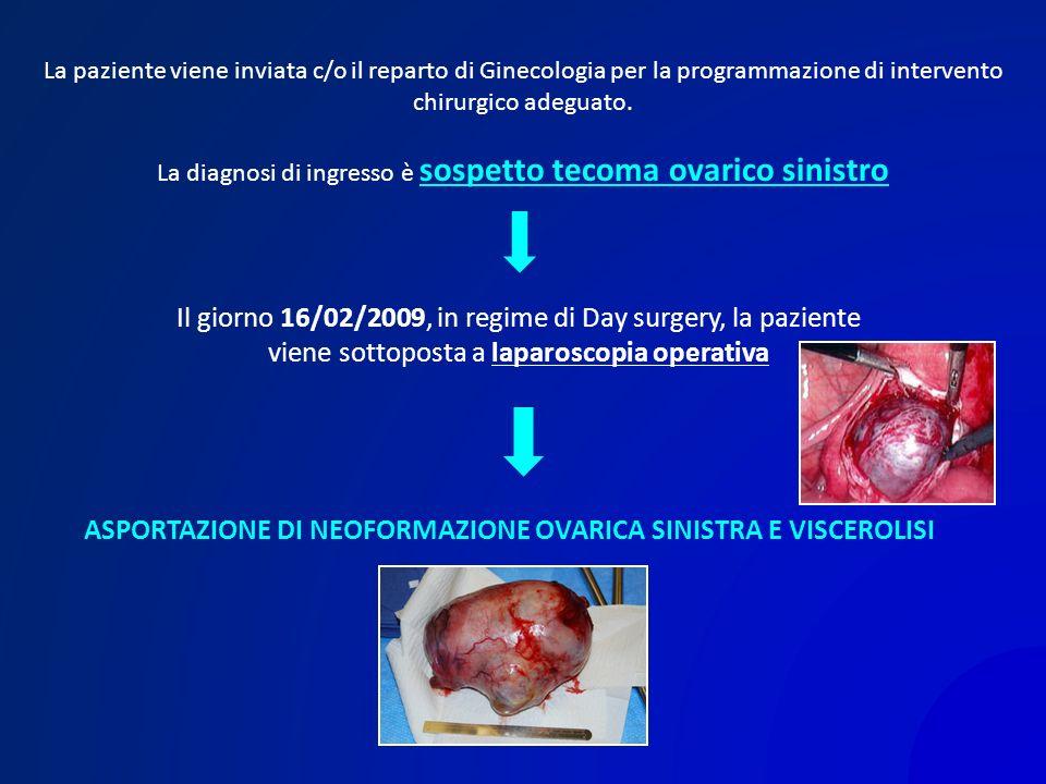 La paziente viene inviata c/o il reparto di Ginecologia per la programmazione di intervento chirurgico adeguato. La diagnosi di ingresso è sospetto te