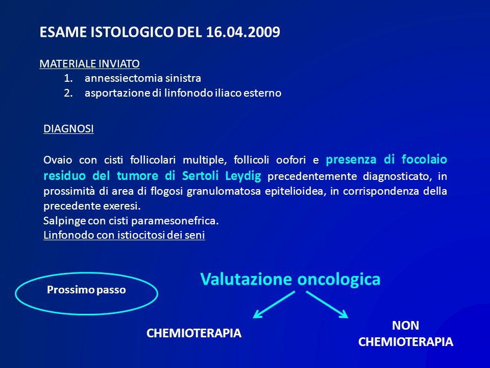 ESAME ISTOLOGICO DEL 16.04.2009 MATERIALE INVIATO 1. annessiectomia sinistra 2. asportazione di linfonodo iliaco esterno DIAGNOSI Ovaio con cisti foll