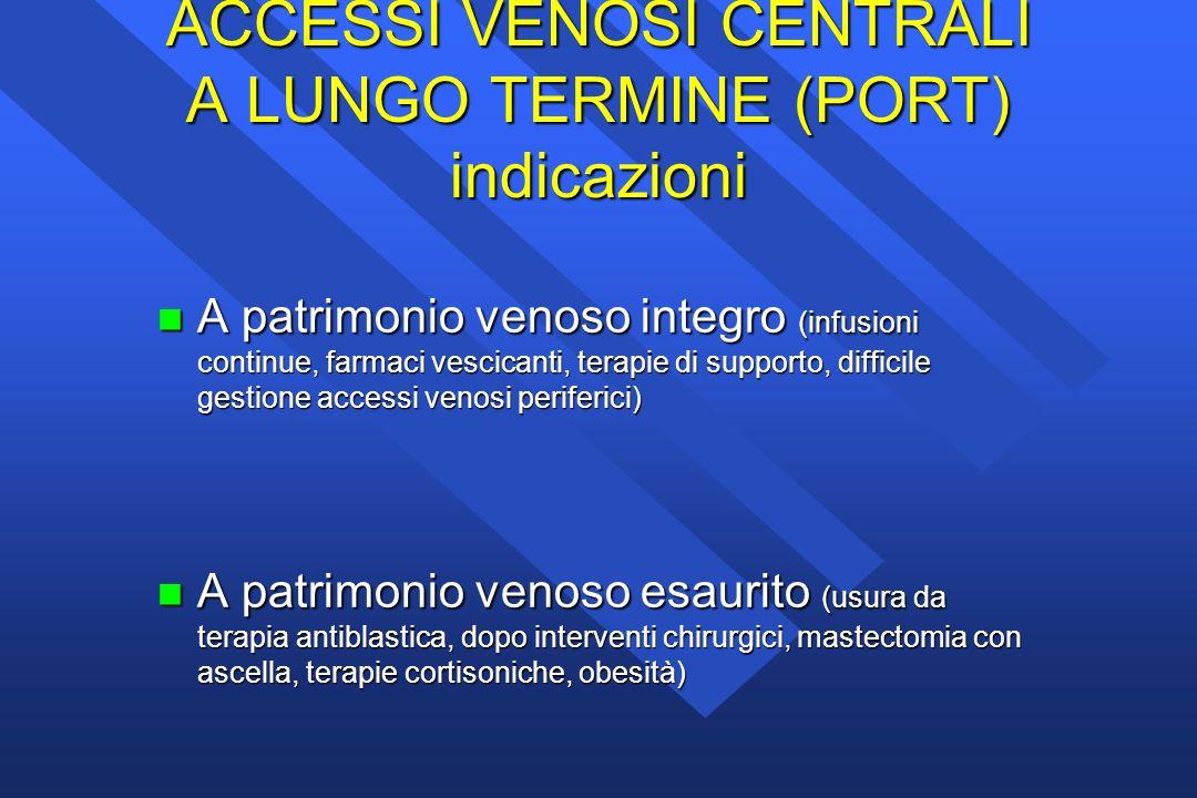 ACCESSI VENOSI CENTRALI A LUNGO TERMINE (PORT) indicazioni n A patrimonio venoso integro (infusioni continue, farmaci vescicanti, terapie di supporto,
