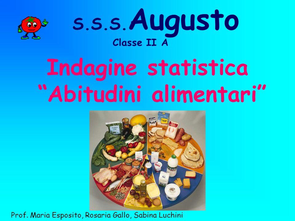 S.S.S. Augusto Indagine statistica Abitudini alimentari Prof. Maria Esposito, Rosaria Gallo, Sabina Luchini Classe II A