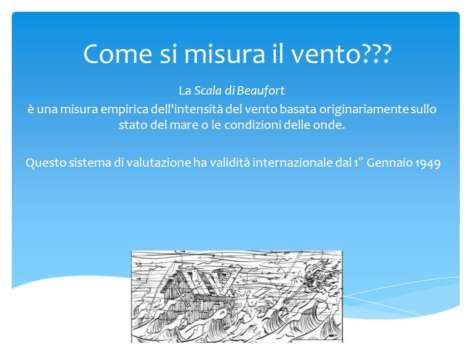 Come si misura il vento??? La Scala di Beaufort è una misura empirica dell'intensità del vento basata originariamente sullo stato del mare o le condiz