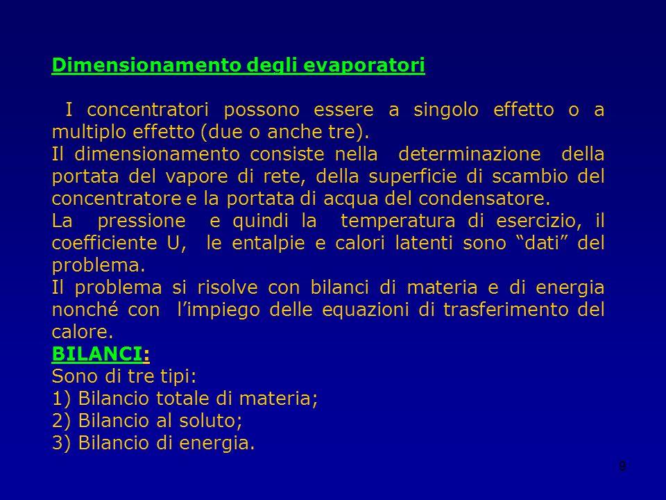 9 Dimensionamento degli evaporatori I concentratori possono essere a singolo effetto o a multiplo effetto (due o anche tre). Il dimensionamento consis
