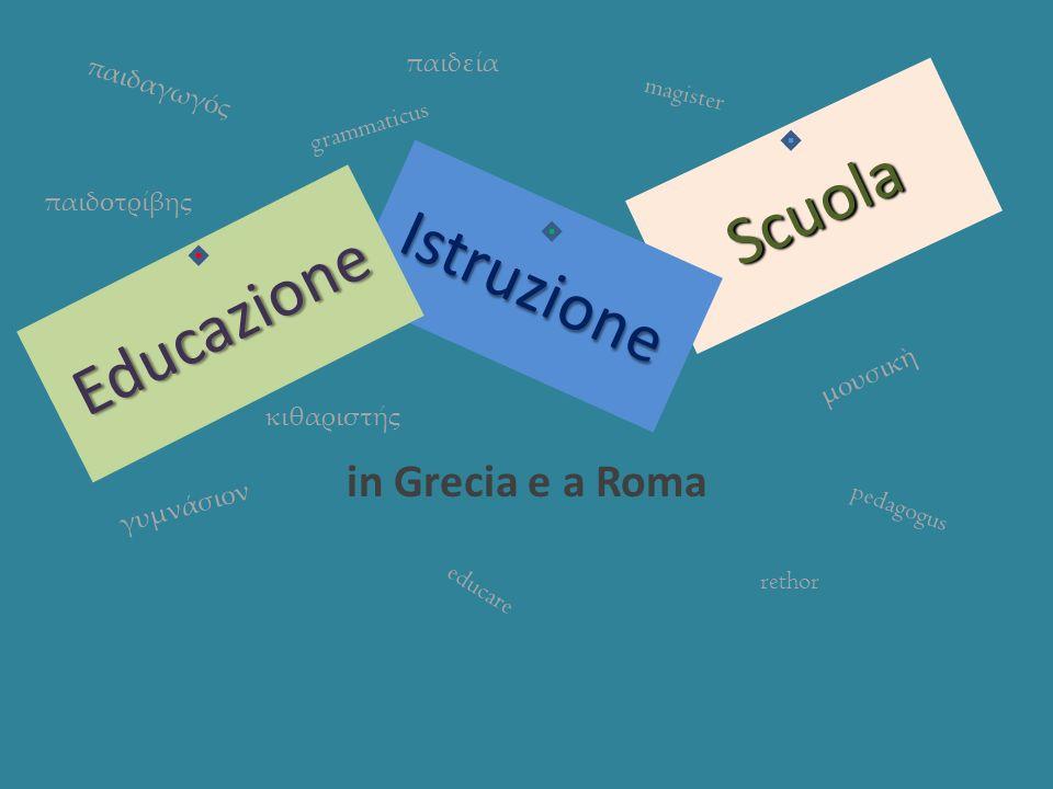 Scuola in Grecia e a Roma Istruzione Educazione παιδαγωγς γυμνάσιον παιδεία μουσικ κιθαριστς magister grammaticus rethor educare παιδοτρίβης pedagogus