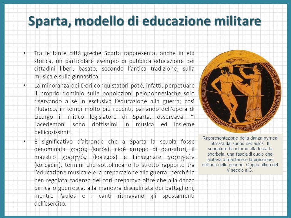Sparta, modello di educazione militare Tra le tante città greche Sparta rappresenta, anche in età storica, un particolare esempio di pubblica educazio