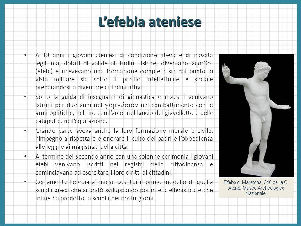 Lefebia ateniese Efebo di Maratona. 340 ca. a.C. Atene. Museo Archeologico Nazionale. A 18 anni i giovani ateniesi di condizione libera e di nascita l