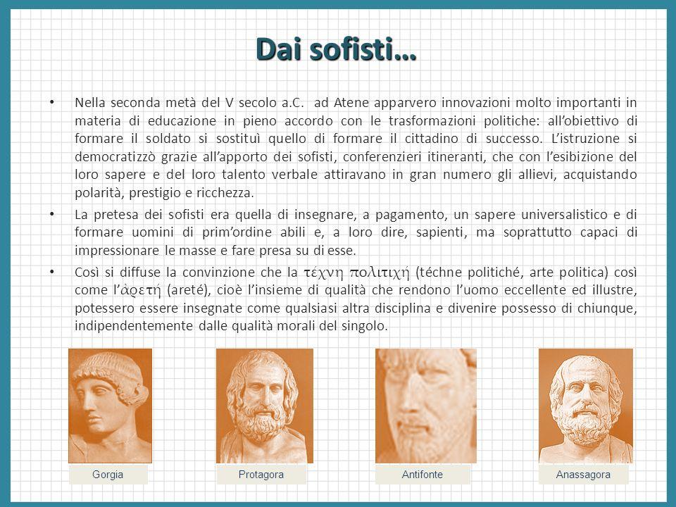 Dai sofisti… Nella seconda metà del V secolo a.C. ad Atene apparvero innovazioni molto importanti in materia di educazione in pieno accordo con le tra