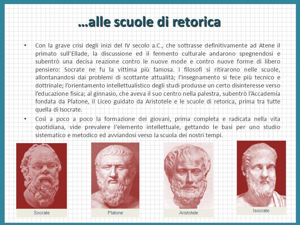 …alle scuole di retorica Con la grave crisi degli inizi del IV secolo a.C., che sottrasse definitivamente ad Atene il primato sullEllade, la discussio