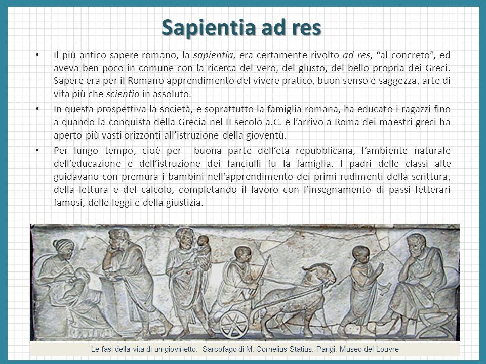 Sapientia ad res Il più antico sapere romano, la sapientia, era certamente rivolto ad res, al concreto, ed aveva ben poco in comune con la ricerca del