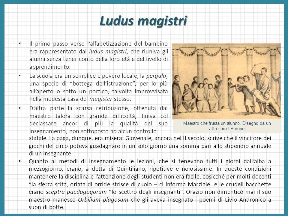 Ludus magistri Il primo passo verso lalfabetizzazione del bambino era rappresentato dal ludus magistri, che riuniva gli alunni senza tener conto della