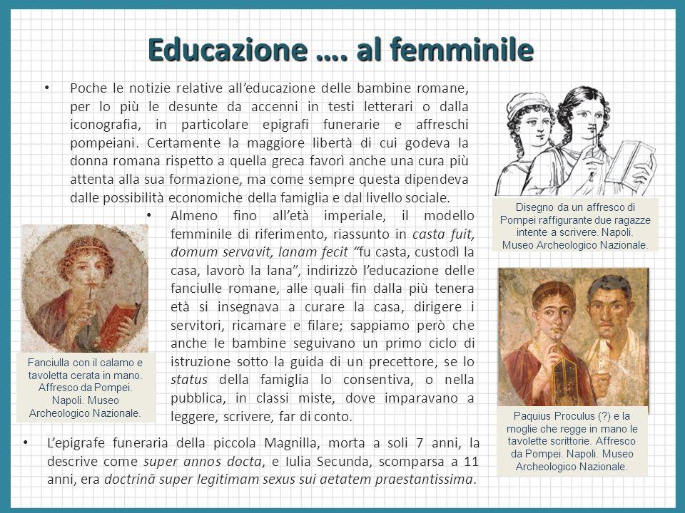 Educazione …. al femminile Poche le notizie relative alleducazione delle bambine romane, per lo più le desunte da accenni in testi letterari o dalla i