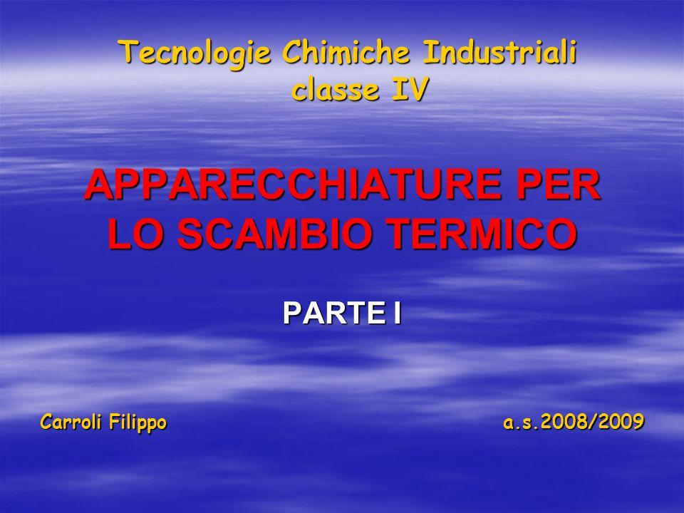 APPARECCHIATURE PER LO SCAMBIO TERMICO PARTE I Tecnologie Chimiche Industriali classe IV Carroli Filippo a.s.2008/2009