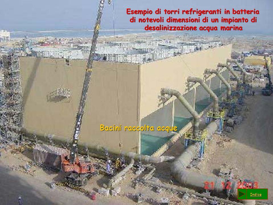 Esempio di torri refrigeranti in batteria di notevoli dimensioni di un impianto di desalinizzazione acqua marina Esempio di torri refrigeranti in batt