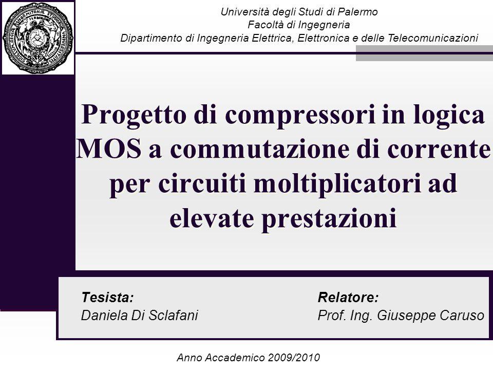 Progetto di compressori in logica MOS a commutazione di corrente per circuiti moltiplicatori ad elevate prestazioni Tesista: Daniela Di Sclafani Unive