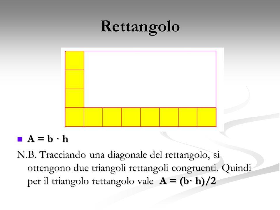 Rettangolo A = b · h N.B. Tracciando una diagonale del rettangolo, si ottengono due triangoli rettangoli congruenti. Quindi per il triangolo rettangol