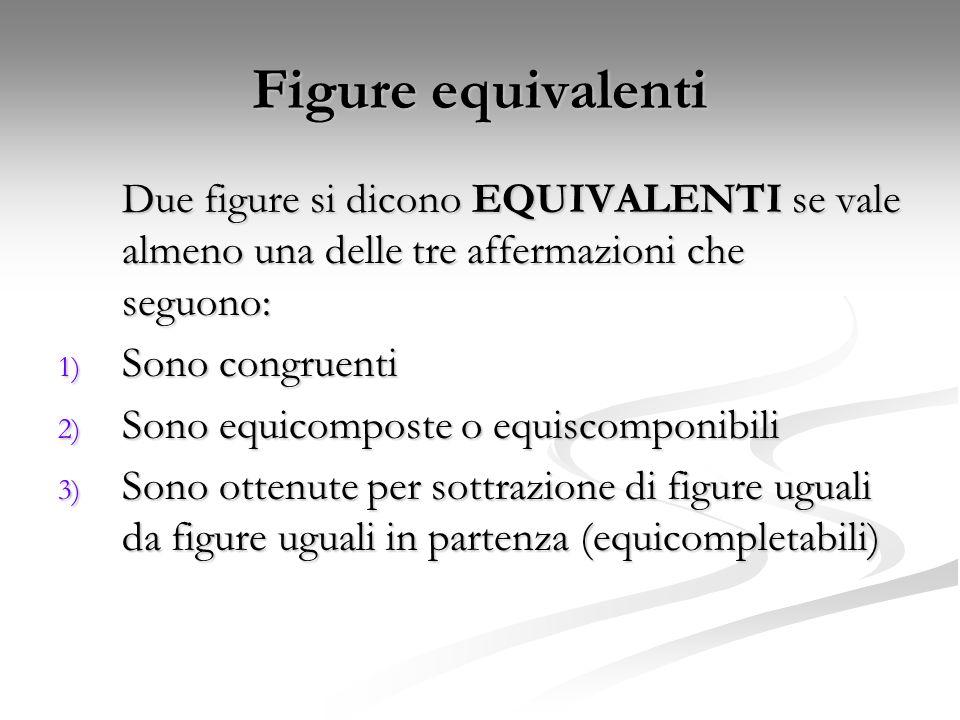 Figure equivalenti Due figure si dicono EQUIVALENTI se vale almeno una delle tre affermazioni che seguono: 1) Sono congruenti 2) Sono equicomposte o e