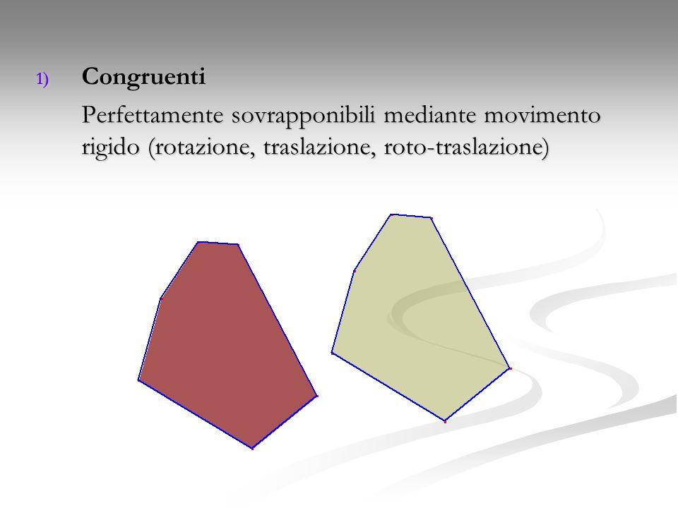 1) Congruenti Perfettamente sovrapponibili mediante movimento rigido (rotazione, traslazione, roto-traslazione)