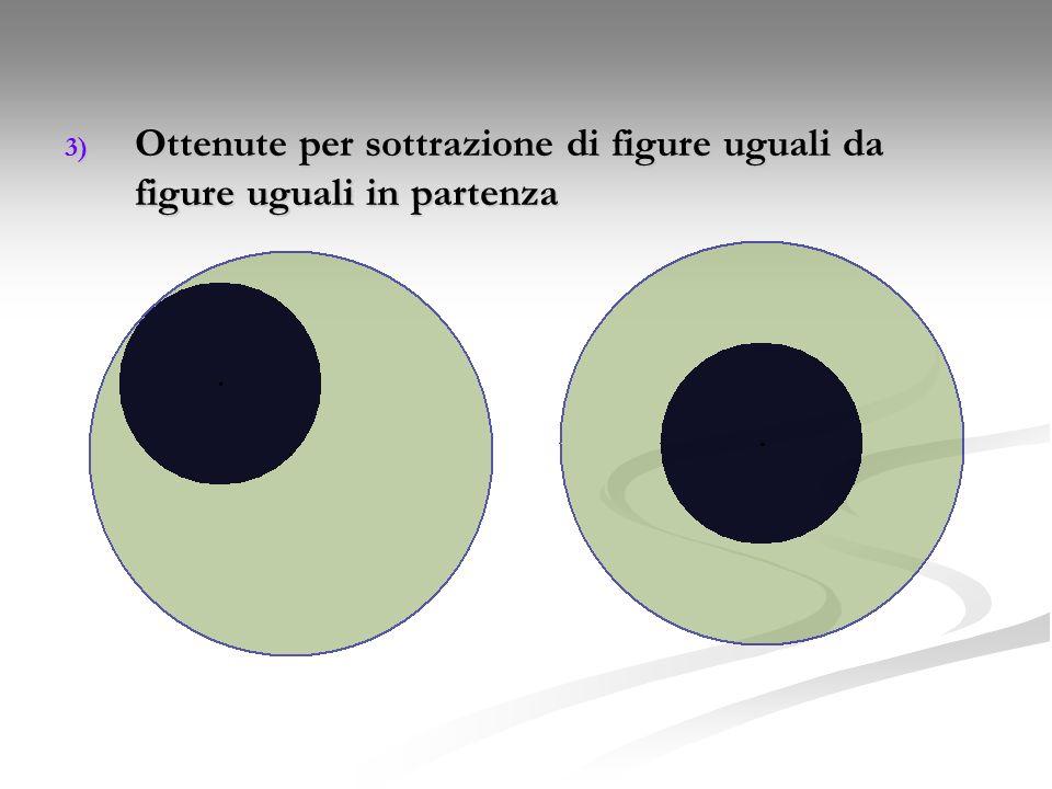 3) Ottenute per sottrazione di figure uguali da figure uguali in partenza