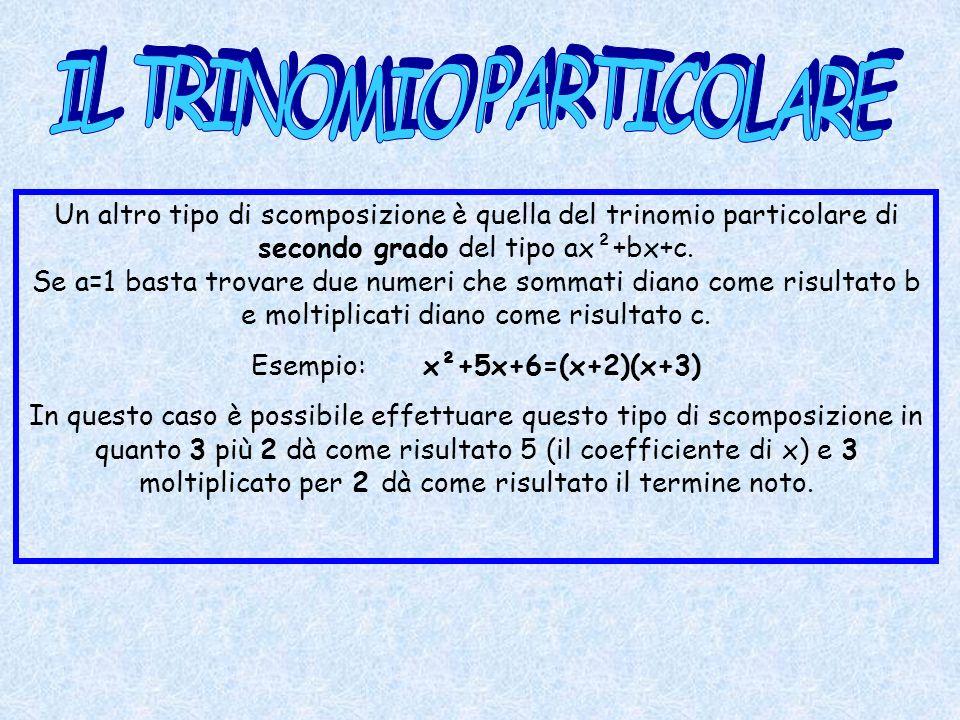 Un altro tipo di scomposizione è quella del trinomio particolare di secondo grado del tipo ax²+bx+c. Se a=1 basta trovare due numeri che sommati diano