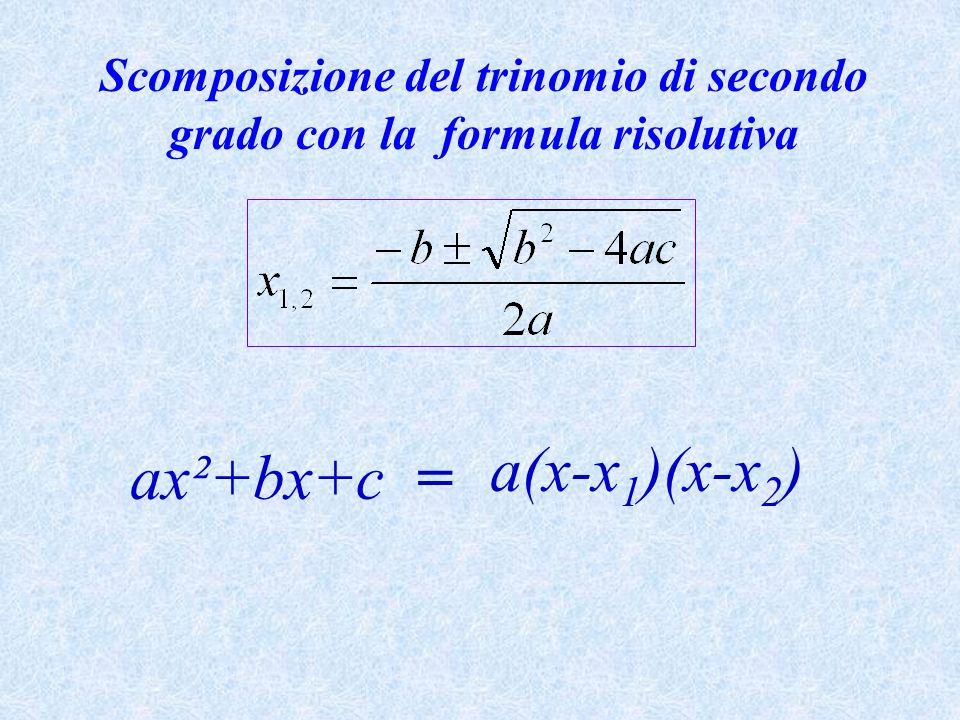 Scomposizione del trinomio di secondo grado con la formula risolutiva ax²+bx+c = a(x-x 1 )(x-x 2 )