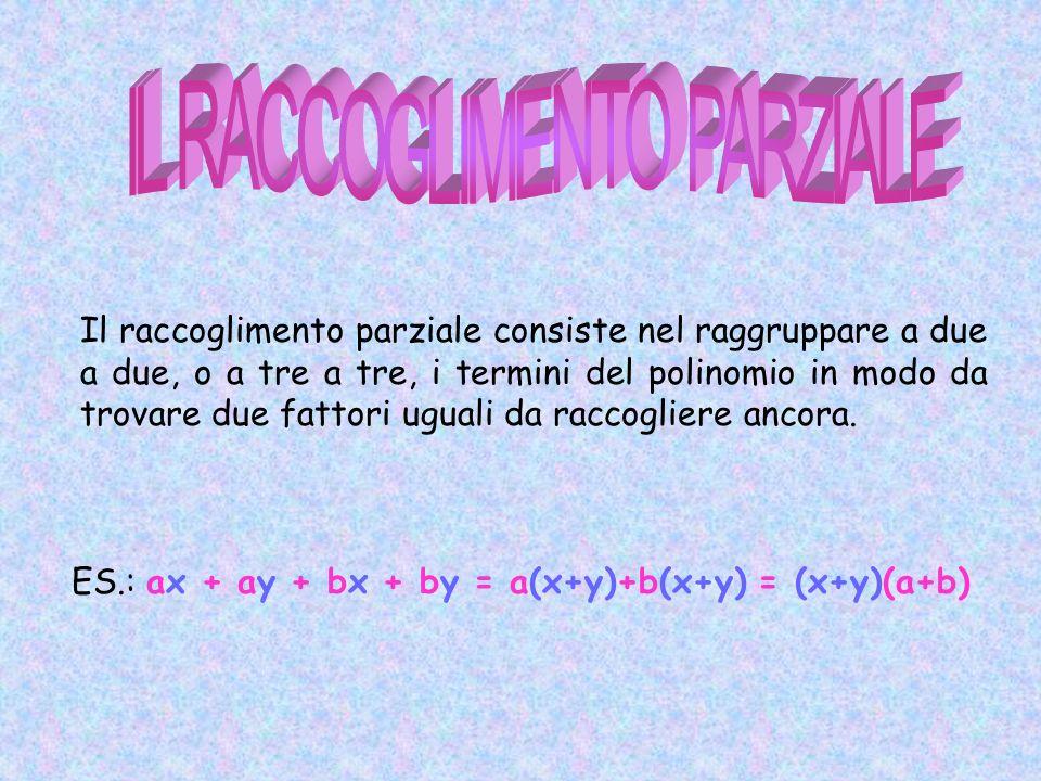 Il raccoglimento parziale consiste nel raggruppare a due a due, o a tre a tre, i termini del polinomio in modo da trovare due fattori uguali da raccog