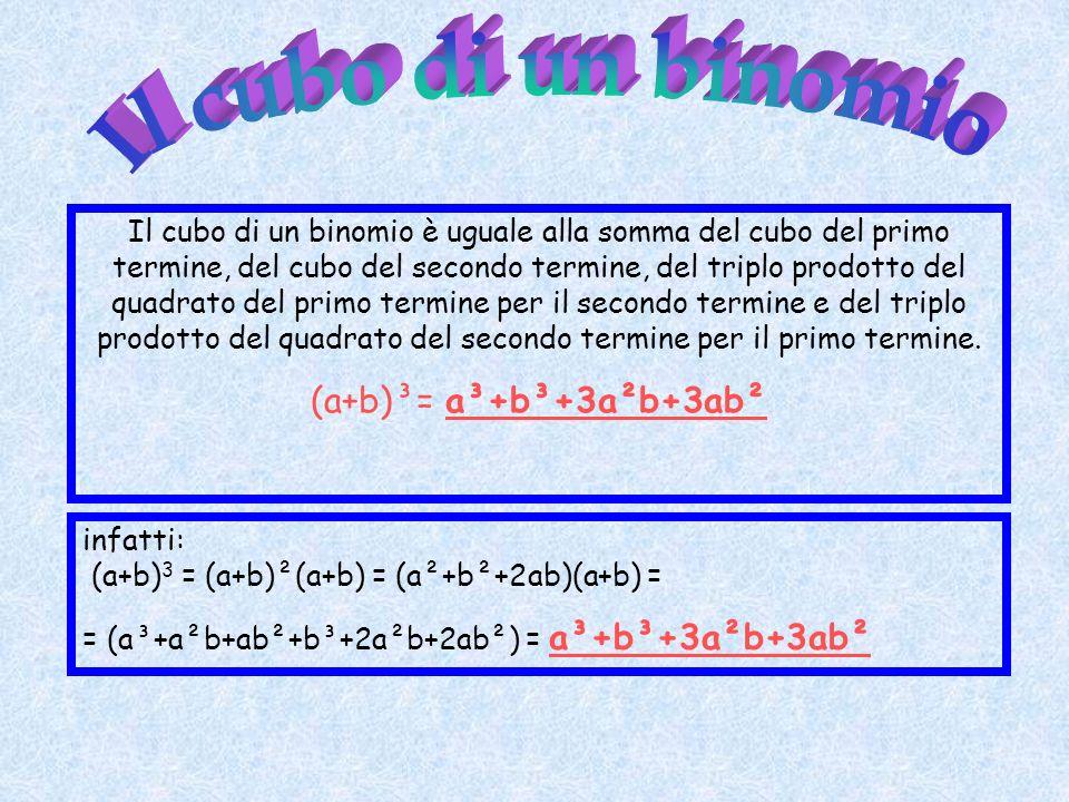 Il cubo di un binomio è uguale alla somma del cubo del primo termine, del cubo del secondo termine, del triplo prodotto del quadrato del primo termine