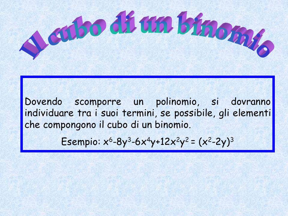 Dovendo scomporre un polinomio, si dovranno individuare tra i suoi termini, se possibile, gli elementi che compongono il cubo di un binomio. Esempio: