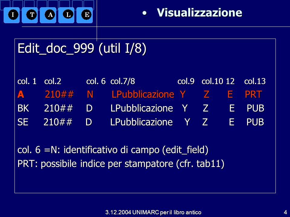 3.12.2004 UNIMARC per il libro antico4 Visualizzazione Visualizzazione Edit_doc_999 (util I/8) col.