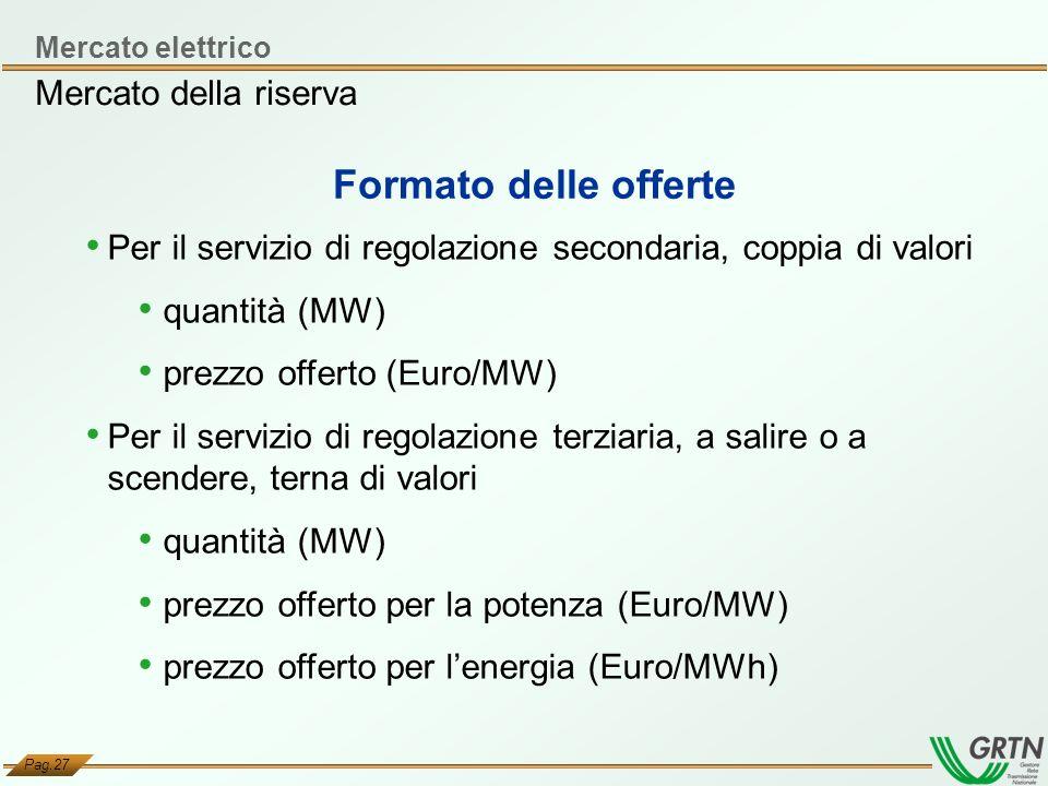 Pag.27 Per il servizio di regolazione secondaria, coppia di valori quantità (MW) prezzo offerto (Euro/MW) Per il servizio di regolazione terziaria, a