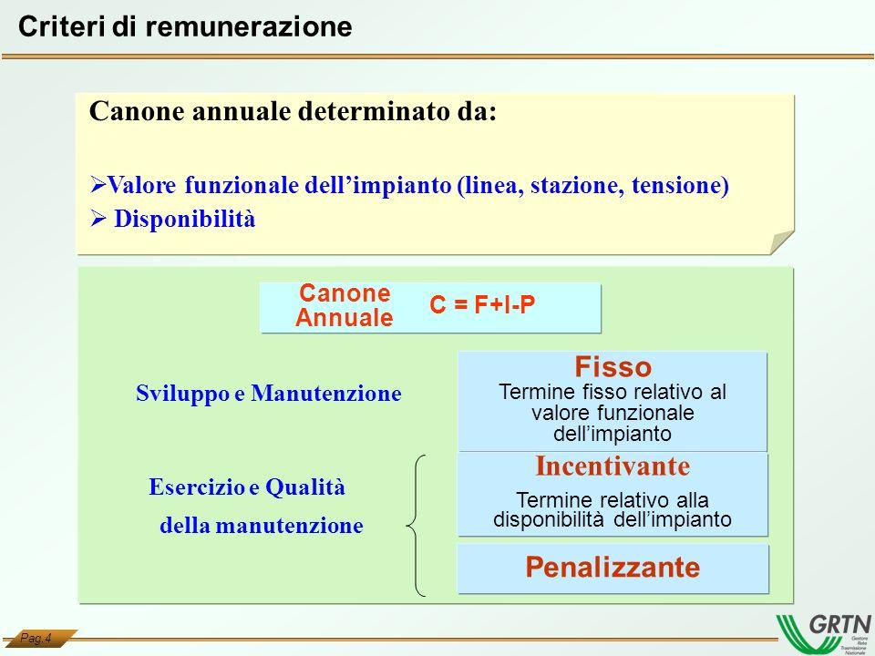 Pag.4 Criteri di remunerazione Fisso Termine fisso relativo al valore funzionale dellimpianto Sviluppo e Manutenzione Incentivante Termine relativo al