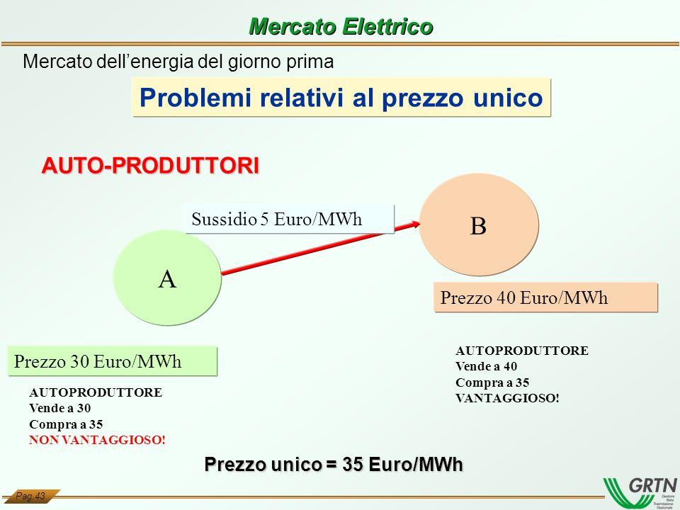 Pag.43 Prezzo unico = 35 Euro/MWh A B Prezzo 40 Euro/MWh Prezzo 30 Euro/MWh AUTO-PRODUTTORI Mercato dellenergia del giorno prima Problemi relativi al