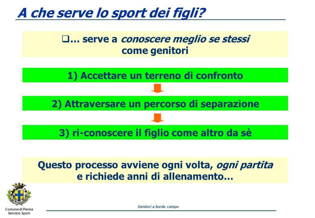 Comune di Parma Servizio Sport Genitori a bordo campo A che serve lo sport dei figli.