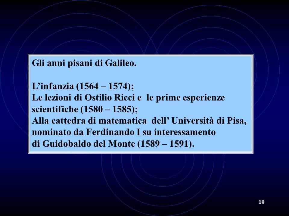 10 Gli anni pisani di Galileo. Linfanzia (1564 – 1574); Le lezioni di Ostilio Ricci e le prime esperienze scientifiche (1580 – 1585); Alla cattedra di