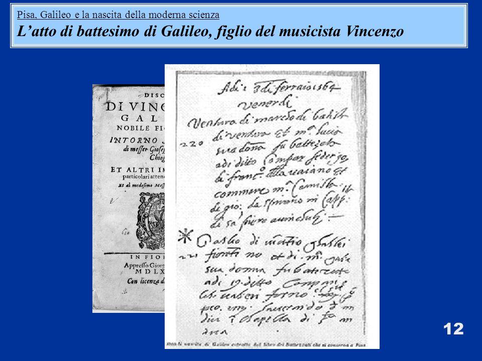12 Pisa, Galileo e la nascita della moderna scienza Latto di battesimo di Galileo, figlio del musicista Vincenzo